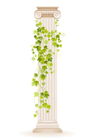 Vector ivy column. Greek marble architecture pillar with green ivy leaf. Illustration with vine plant climbing on antique column. Ancient roman or greek design decoration in watercolor style isolated