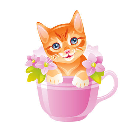 Cat vector. Cute Kitten in flower cup. Animal face illustration. Cat drawing for card design, fashion t shirt print. Funny cartoon red kitty in watercolor style with beautiful pink viola flowers Ilustrace