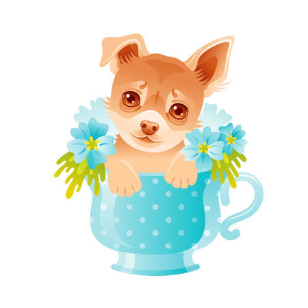 Chihuahua Puppy. Cute dog in flower cup. Vector illustration. Cartoon animal face drawing. Card Design, t shirt print for baby girl with funny beautiful pet in blue flowers. Watercolor fashion art