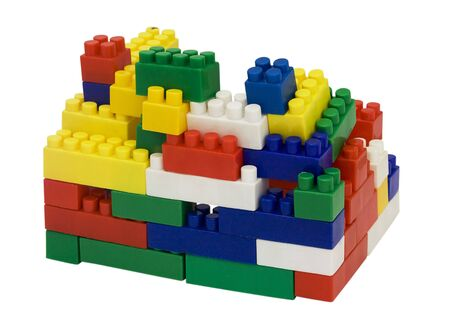 Childrens blocks for building on a white background