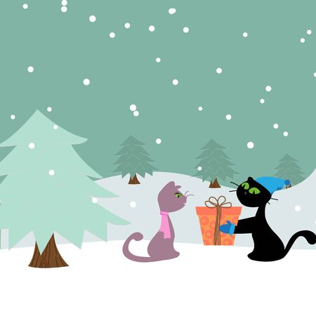 new year cat: Christmas card with cats
