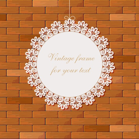 greeting card with frame on brick Stock Vector - 10958998