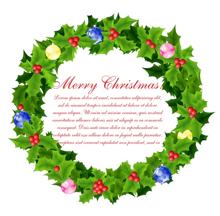 Christmas wreath background Vector