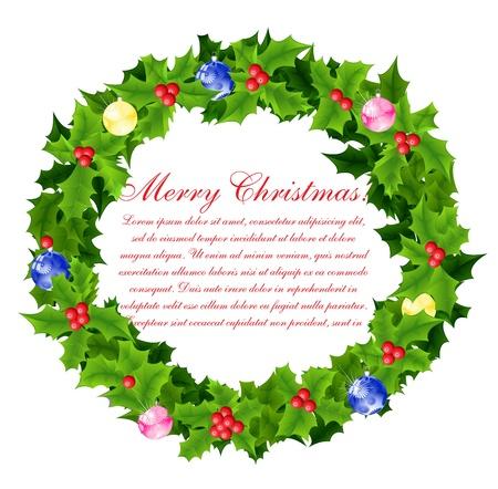 yule: Christmas wreath background Illustration
