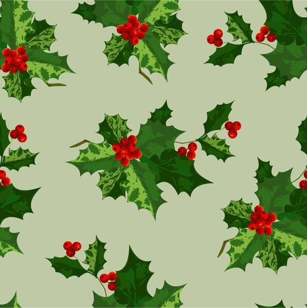 christmas wrapping: Holly background Illustration