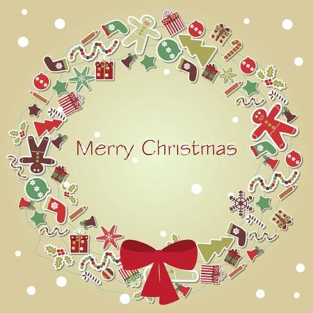 botas de navidad: Corona de Navidad de fondo Vectores