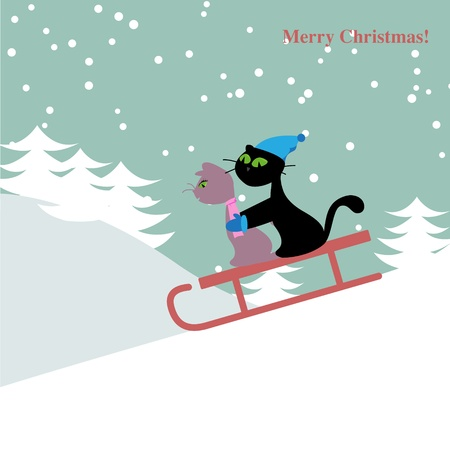 Christmas card with cats Stock Vector - 11814250