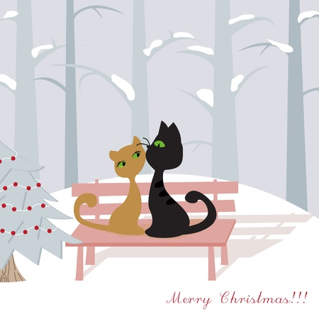Christmas card with cats Stock Vector - 11814251