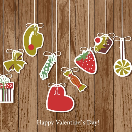 candy background: Valentine`s Day card