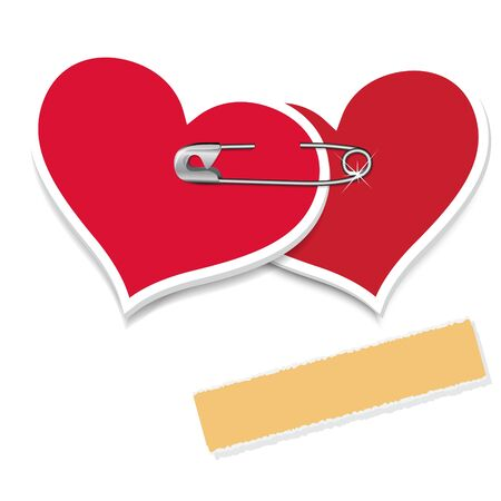safety pin: Two hearts