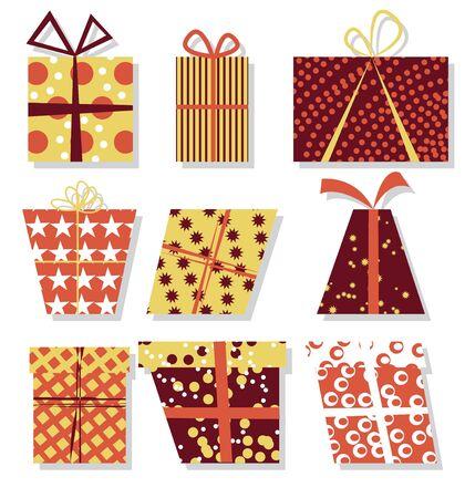 A set of gift boxes.  Illustration