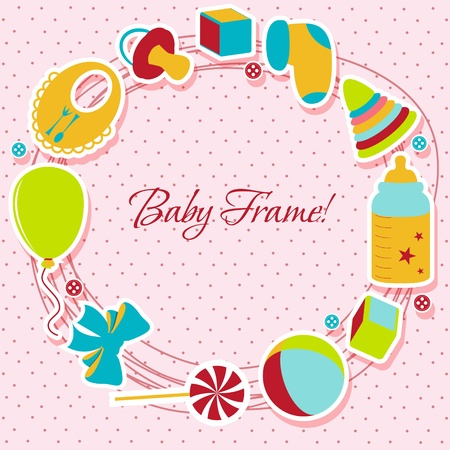 newborn baby girl: Card with a baby elements  Vector illustration   Illustration