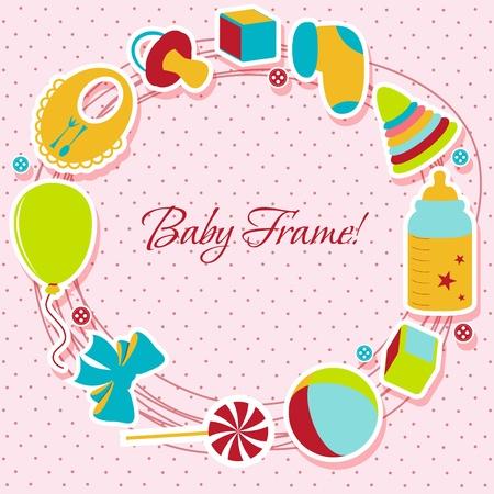 Karte mit einem Baby Elemente Vektor-Illustration