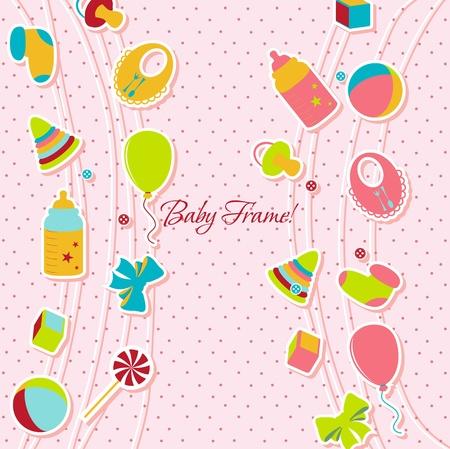 baby biberon: Card con un vettore bambino illustrazione elementi Vettoriali