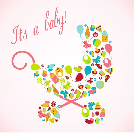 Card with a baby elements illustration