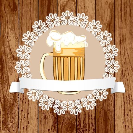 Mug of beer on a wood background  Vector