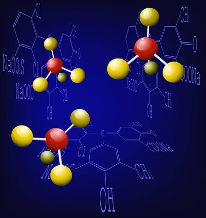 Background with molecule structure and abstract chemical formula Vector