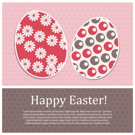 Vintage  postcard with  paper eggs and place text  Vector