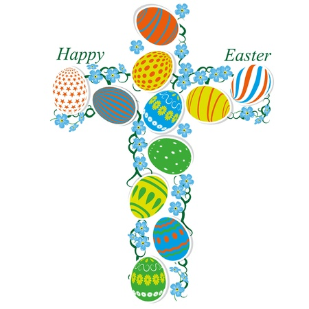 The Catholic cross of Easter eggs and forget-me-not Vector