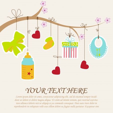 newborn baby girl: Greeting with a baby elements  Vector illustration