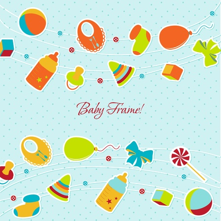 Greeting with a baby elements  Vector illustration