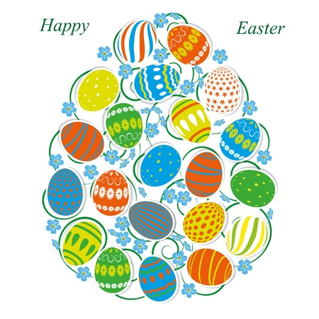 The Egg of Easter eggs and forget-me-not Vector Illustration