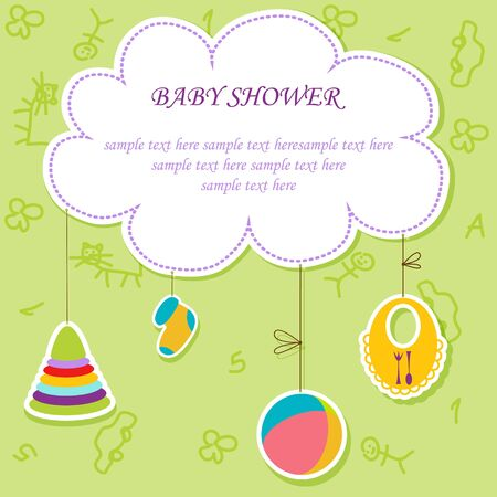 baby border: Greeting with a baby elements  Vector illustration