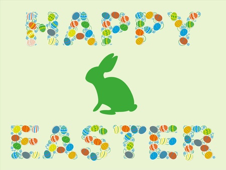 Easter card with a rabbit, and congratulations  Vector