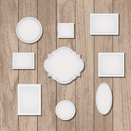 Set of empty picture frames on wood wallpaper Vector