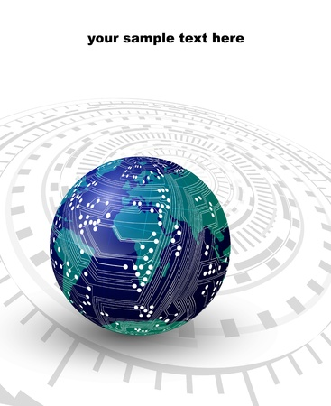 technology abstract background - the globe with the board Vector