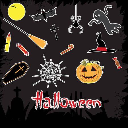 Halloween attributes set  moon, pumpkin, hat, spider, cobweb, bats    Vector