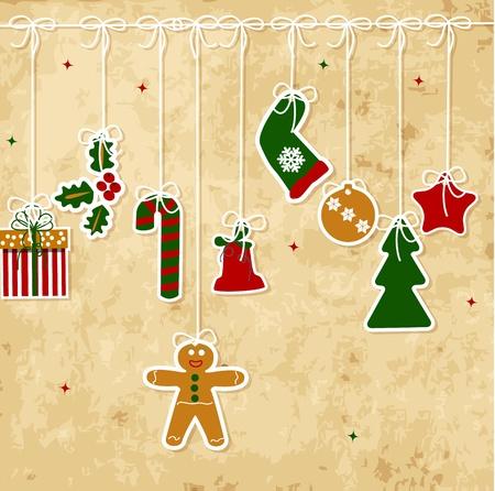christmas decoration: Vintage Christmas card with balls, stars, gift
