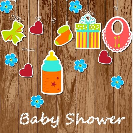 teteros: Tarjeta con elementos del bebé