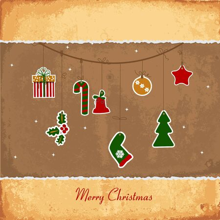 Vintage Christmas card with balls, stars, gift Vector