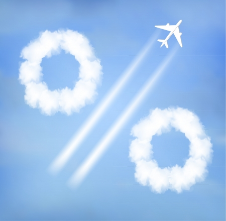 The percent sign of clouds from an airplane trail  일러스트