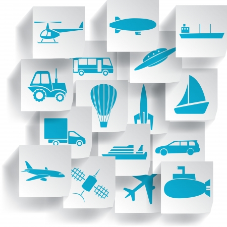 Transportation and travel icons set  Vector illustration