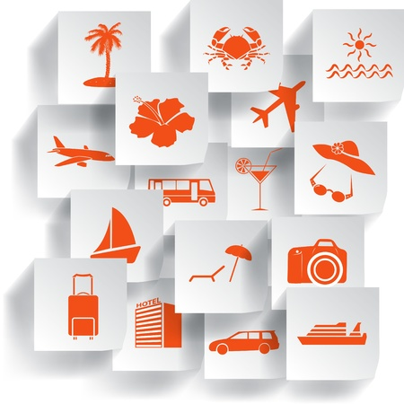 Transportation and travel icons set  Vector illustration  Vector