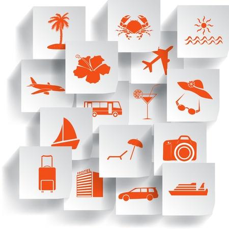 Transportation and travel icons set  Vector illustration