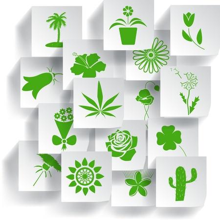 hanf: Blumen und Pflanzen icons set illustration