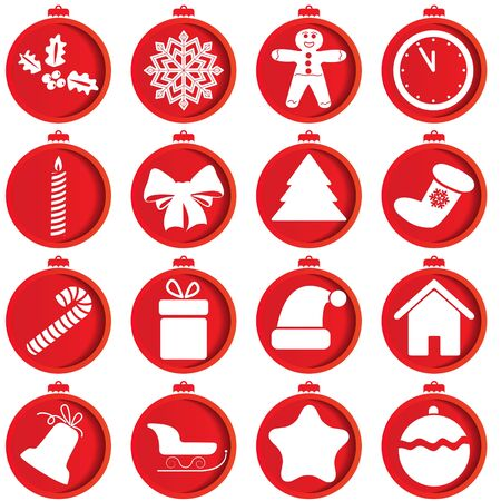 hollyberry: Red icons with Christmas items  illustration