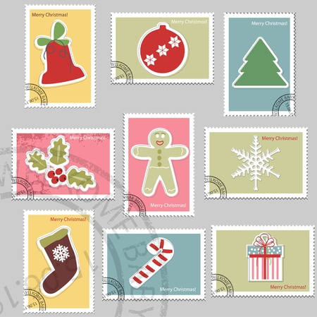 christmas mail: Christmas stamps Illustration