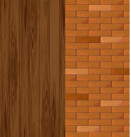 Brick background and wood background  Vector illustration  Stock Vector - 16385626