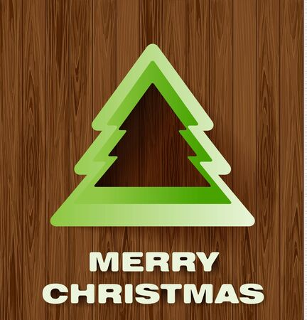 Christmas tree on a wooden background   Vector Vector