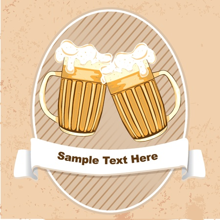 Label with beer mugs and ribbon for text  photo