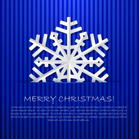 christmas card background: Blue background with paper snowflake