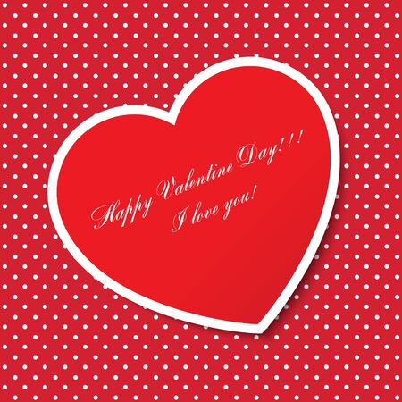 Red paper heart Valentines day card Stock Vector - 17150466