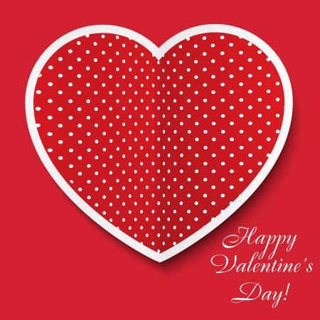 Red paper heart Valentines day card Vector