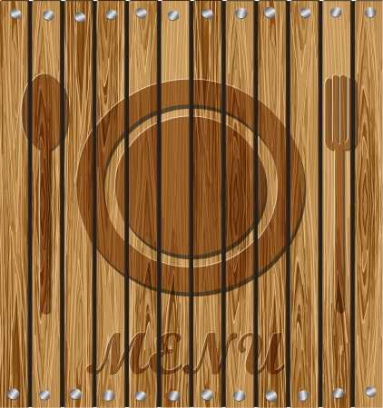 Fork, spoon, plate - a restaurant menu on a wooden background  Vector