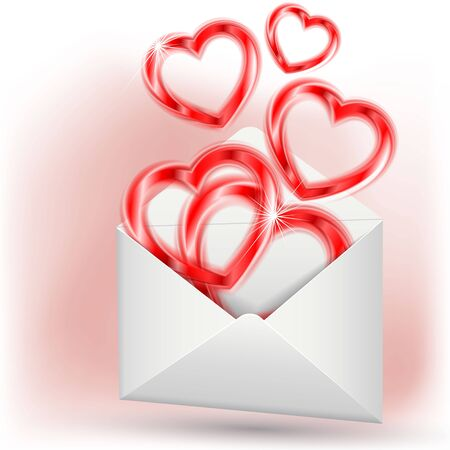 Hearts in envelope Stock Vector - 17473599