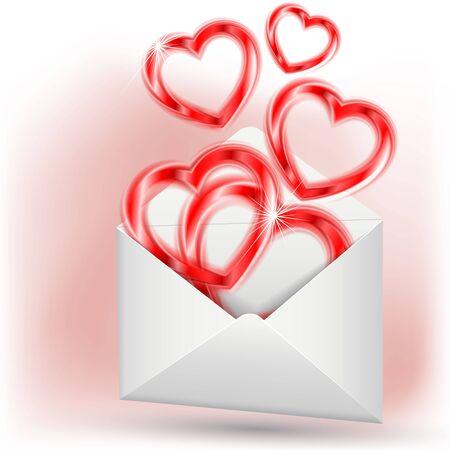 Hearts in envelope Stock Vector - 17473599